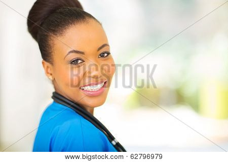 close up portrait of african female medical intern