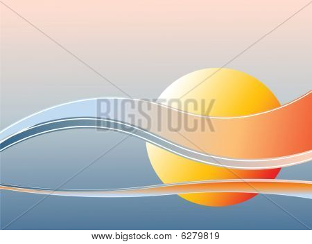 Background with sunrise.