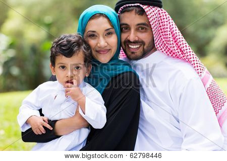beautiful middle eastern family outdoors