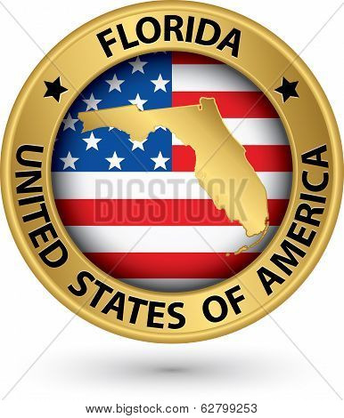 Florida State Gold Label With State Map, Vector Illustration