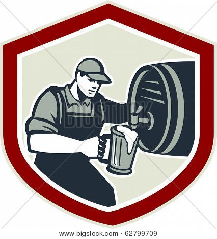 Barman Pouring Beer Ale Barrel Retro