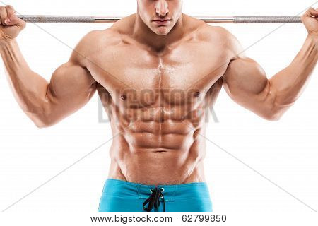 Muscular Bodybuilder Guy Doing Exercises With Dumbbells Over White Background Background And Showing