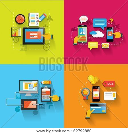 Set of flat design concept icons web and mobile services