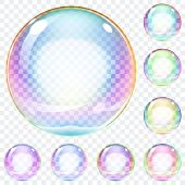 picture of orbs  - Set of multicolored transparent soap bubbles on a plaid background - JPG