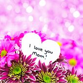 stock photo of i love you mom  - I love you Mom card amongst a bouquet of flowers with twinkling pink background - JPG