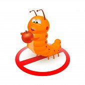 stock photo of caterpillar cartoon  - Cute orange caterpillar cartoon is going to eat an apple - JPG