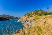 stock photo of promontory  - The yellow promontory with the blue sky - JPG