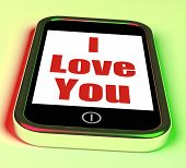 foto of adoration  - I Love You On Phone Showing Adore Romance - JPG