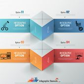 pic of parallelepiped  - Modern infographics options banner with realistic colorful parallelepipeds  - JPG