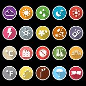 image of meteoric rain  - Weather icons with long shadow stock vector - JPG
