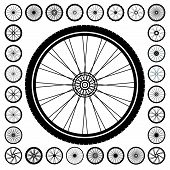 Bicycle wheel icon set. Vector