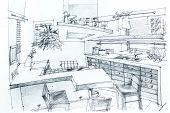 image of interior sketch  - Graphical sketch by pencil of an interior kitchen - JPG