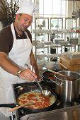 Italian Chef Cooking Pasta