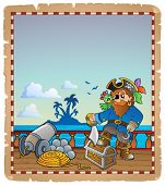 Parchment with pirate ship deck 1 - eps10 vector illustration.