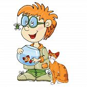 boy with animals. cartoon character.
