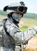 stock photo of special forces  - US soldier in camouflage uniform and mask - JPG