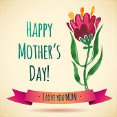 foto of i love you mom  - Watercolor Flower Happy Mother - JPG