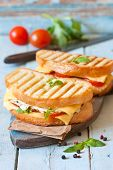 stock photo of tomato sandwich  - Grilled cheese sandwiches with chicken and tomatoes on a rustic wooden board.