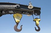 pic of crane hook  - Lifting hook on an old railroad crane on a rail siding - JPG