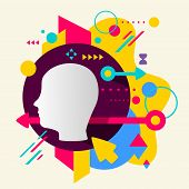 Human Head On Abstract Colorful Spotted Background With Different Elements
