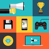 image of arcade  - Flat design style modern vector illustration concept with icons set of game playing awards gaming development apps for mobile device play games on video console with game controller - JPG