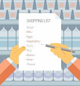 foto of supermarket  - Flat design style modern vector illustration concept of person holding shopping list of items needed to be purchased in a supermarket with abstract product shelves on the background - JPG