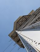 foto of ropeway  - Metal designs of a tower of a ropeway in Barcelona - JPG