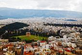 stock photo of olympian  - Temple of Olympian Zeus in Athens Greece on an overcast day - JPG
