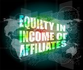 Equilty In Income Of Affiliates Words On Digital Screen