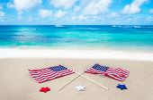American Flags On The Beach