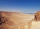 stock photo of masada  - view of Dead Sea from fortress Masada Israel - JPG