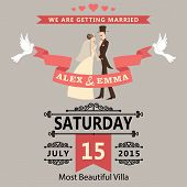 foto of pigeon  - The wedding invitation to the groom and bride in retro style with vignettes - JPG