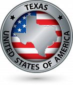 stock photo of texas state flag  - Texas state silver label with state map vector illustration - JPG