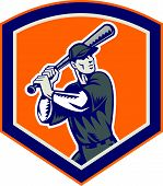 picture of hitter  - Illustration of a american baseball player batter hitter battingr set inside shield shape done in retro woodcut style isolated on background - JPG