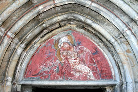 pic of suceava  - St. Mary and the Holy Child- fresco painting from Humor Monastery, Bucovina country (Romania).  Humor Monastery was among the first churches to be painted. Its frescoes are due to Toma of Suceava and were performed in 1535. - JPG