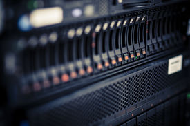 stock photo of raid  - storage or file server. harddisk in server room ** Note: Shallow depth of field - JPG