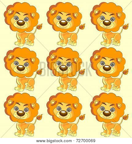 Seamless Vector Texture  Cute Lion