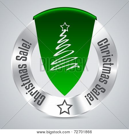 Christmas Badge With Green Ribbon