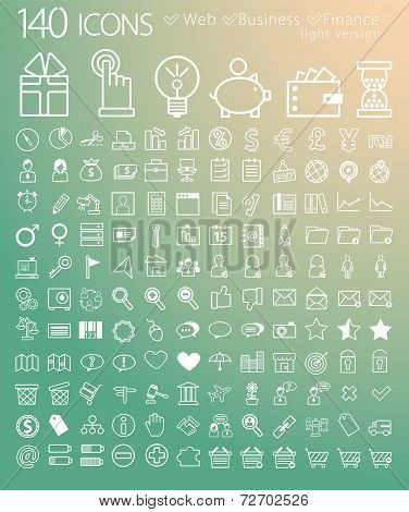 Vector white web, finance and business icons set on colorful background