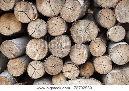 Background of firewood stacked in the woodpile