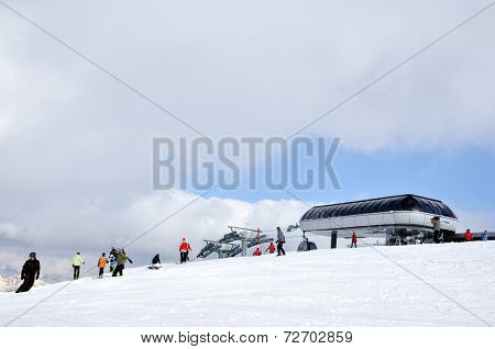 Ski Resort In The Alps