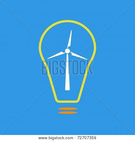 Bulb with wind turbine as eco energy sign
