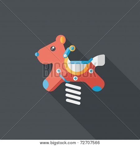 Playground Toy Horse  Flat Icon With Long Shadow