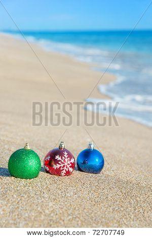 Christmas Tree Decorations On Sea Coast
