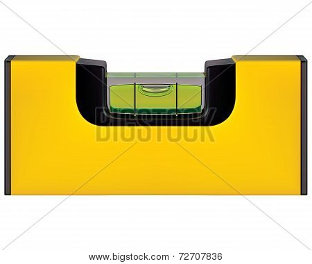 Yellow Spirit Level Isolated On White. Vector Ilustration