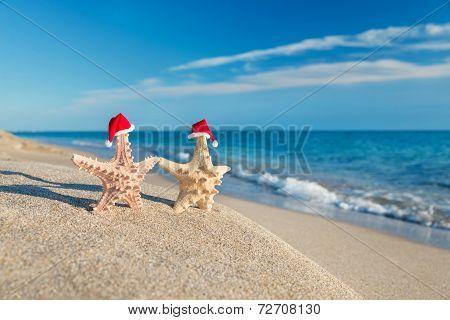Sea-stars Couple In Santa Hats Walking At Beach. Holiday Concept