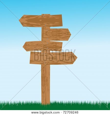 Empty Wooden Sign For Directions