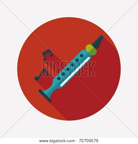 Recorder Flat Icon With Long Shadow