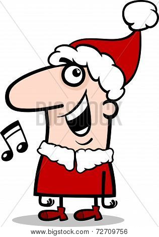 Santa Singing Carol Cartoon Illustration