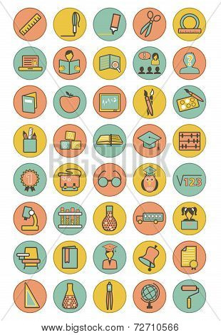 Vector full color education icons set on colorful background